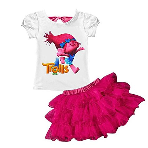 AOVCLKID Trolls Little Girls 2Pcs Suit Cartoon Shirt and Skirt Set