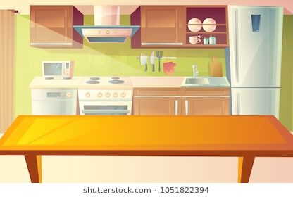 Vector Cartoon Illustration Of Cozy Modern Kitchen With Dinner