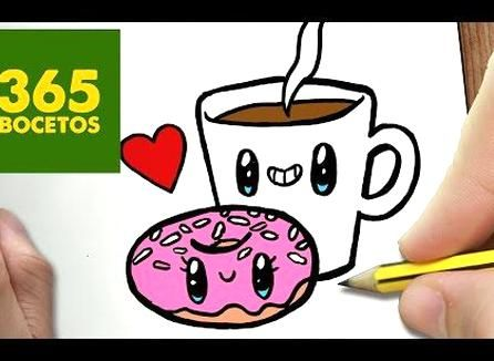 Como Dibujar Cafe Y Donut Kawaii Paso A Paso Dibujos Kawaii Faciles Draw A Coffee And Donut Youtube Kawaii Drawings Kawaii Doodles Kawaii