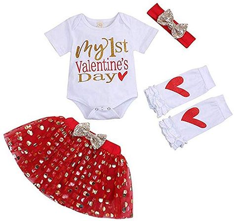 Mini Time Newborn Baby Girls My First Valentine Day Outfit Set Long Sleeve Bodysuit