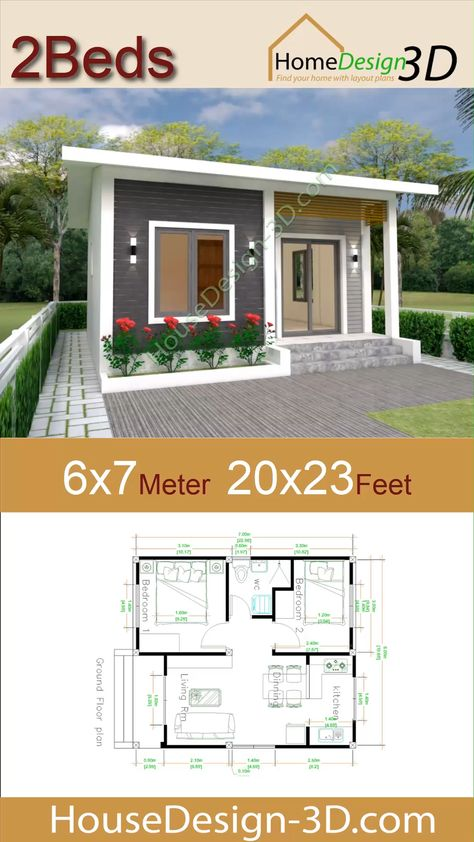 House Design 3d 6x7 Meter 20x23 Feet 2 Bedrooms gable Roof The House has:  -Car Parking and garden -Living room, -Dining room -Kitchen -2 Bedrooms, 1 bathroom -washing room