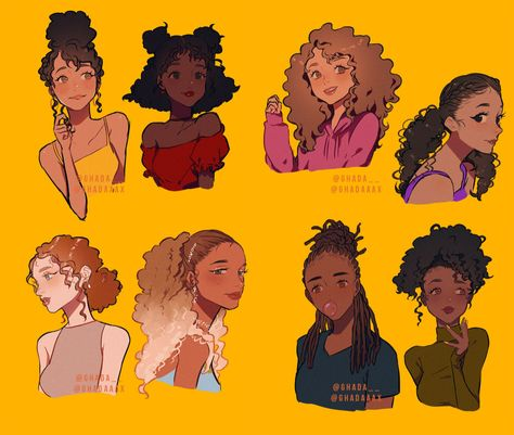 Reference Manga, Art Reference Poses, Hair Reference, Cute Art Styles, Cartoon Art Styles, Photographie Street Art, Black Girl Art, Black Art, Character Drawing