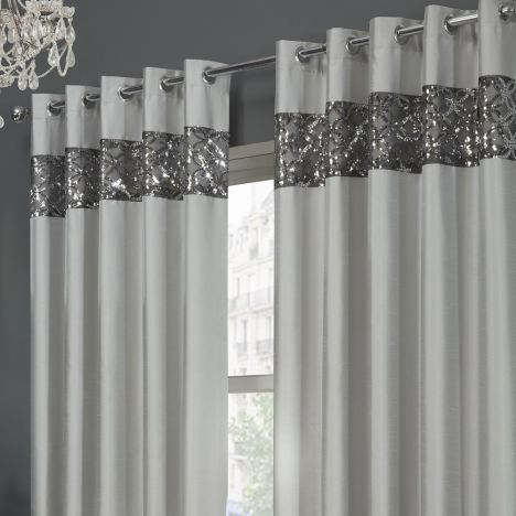 Rio Sequin Eyelet Ring Top Fully Lined Curtains Silver In 2020 Glitter Bedroom Curtains Glitter Room