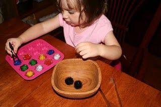 Tweezers & pom-poms fine motor activity