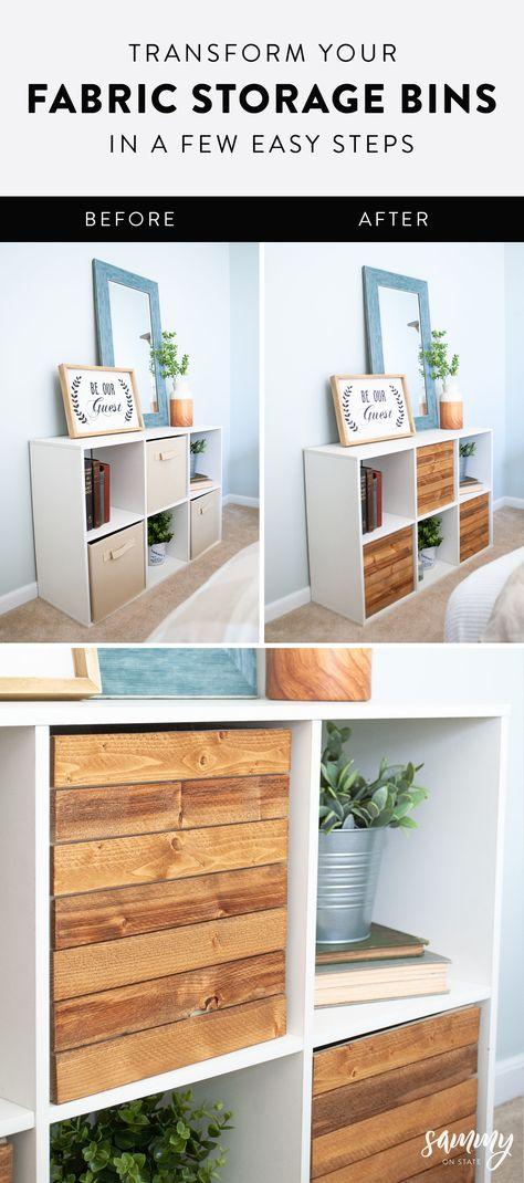 diy storage bins Transform Your Fabric Storage Bin - diystroage Design Furniture, Furniture Projects, Furniture Makeover, Diy Furniture, Diy Projects, Fabric Storage Bins, Ikea Storage Bins, Cube Storage Baskets, Wooden Storage Bins