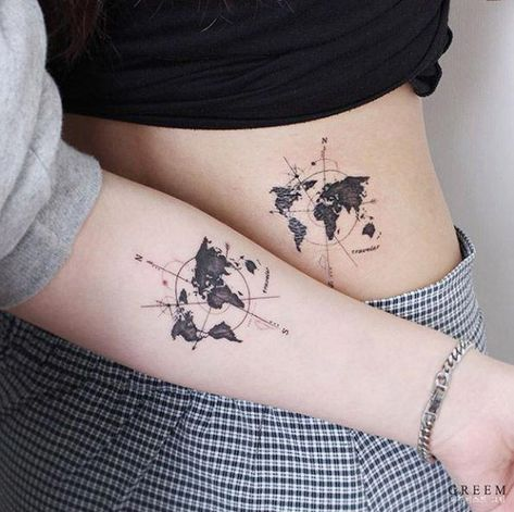 Matching compass maps by Greem #UltraCoolTattoos
