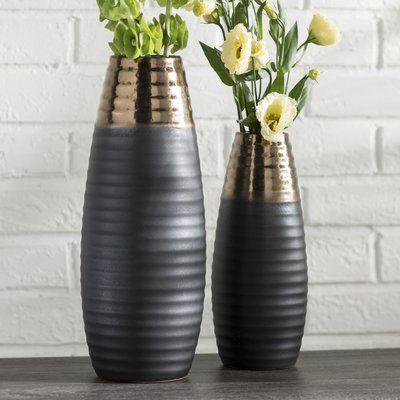 Mercury Row Ceramic Two Toned 2 Piece Floor Vase Set Floor Vase