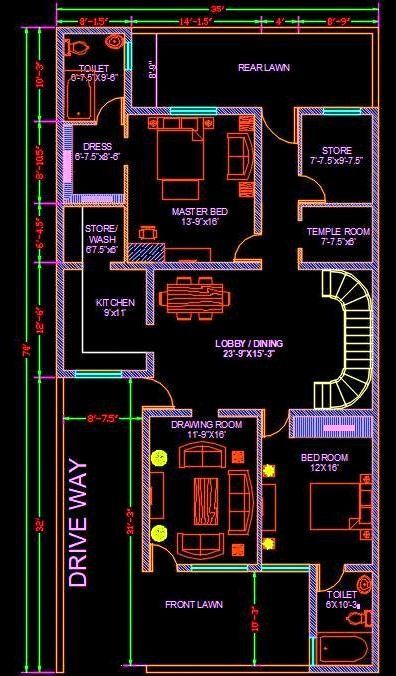 2d Home Design Software Free Download Unique House Architectural Space Planning Floor Layout Plan House Layout Plans House Construction Plan West Facing House