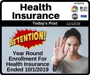 Year Round Enrollments For Health Insurance Ended 10 1 2019