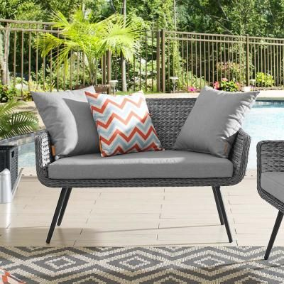 Modway Saratoga Teak Outdoor Loveseat In Natural With White Cushions Eei 2932 Nat Whi In 2020 Outdoor Loveseat Rattan Loveseat Gray Patio Furniture