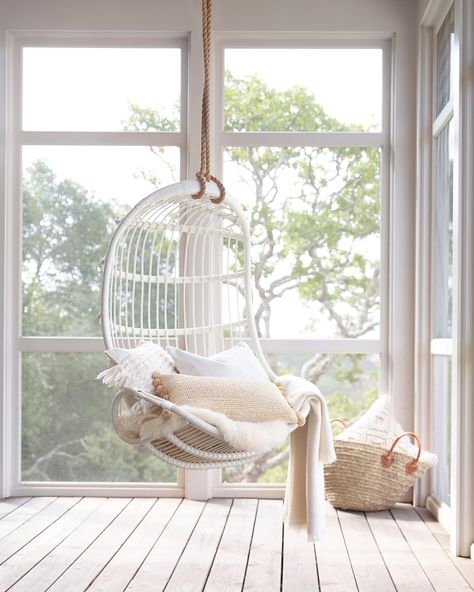 Whether you want to create a reading nook or a conversation space, these chairs will make you feel nostalgic for childhood. The popular hanging chair seating option is a playful addition to any room in your home or garden. Hanging Egg Chair, Swinging Chair, Hammock Chair For Bedroom, Indoor Hanging Chairs, Swing Chair For Bedroom, Hanging Beds, Hanging Hammock, Chair Bed, Swivel Chair