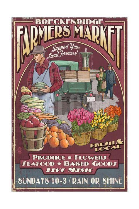 At Wednesday Farmers Market I Signed >> Breckenridge Colorado Farmers Market Vintage Signby Lantern Press