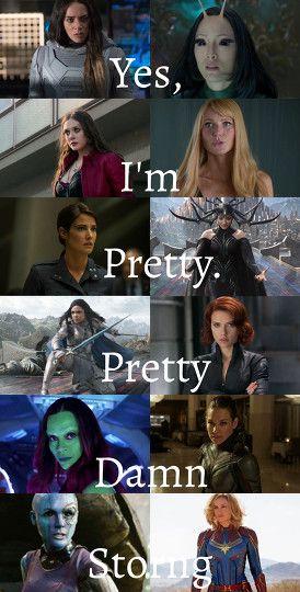 Ava, Mantis, Wanda, Pepper, Maria, Hela, Valkyrie, Natasha, Gamora, Hope, Nebula, Carol