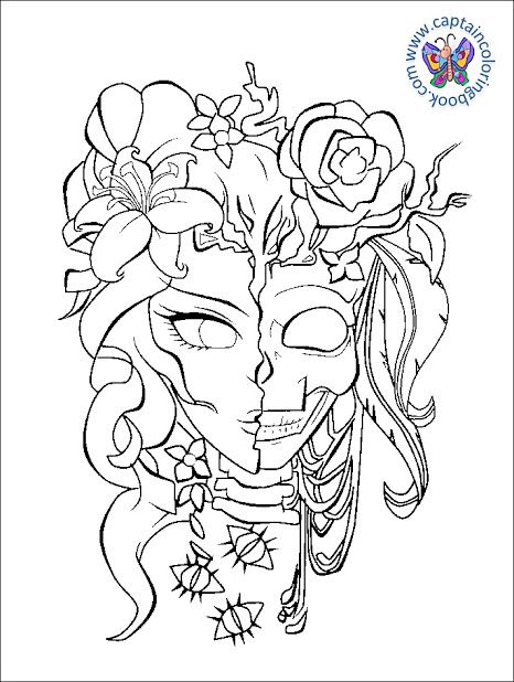 Pin By Captain Colorin Book On Beginners Painting Skull Coloring Pages Rose Coloring Pages Coloring Pages