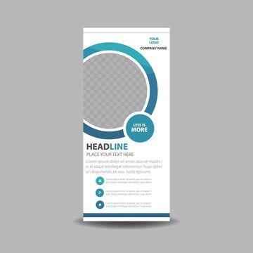 دائرة زرقاء الأعمال نشمر راية قالب تصميم مسطح Standee Design Design Template Interior Design Brand