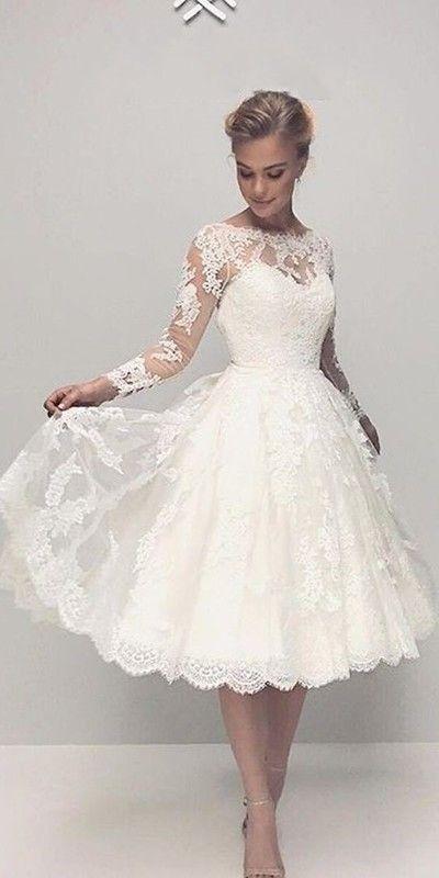 Vintage Wedding Dress In 2020 Knee Length Wedding Dress Long Sleeve Wedding Dress Lace Lace Wedding Dress Vintage
