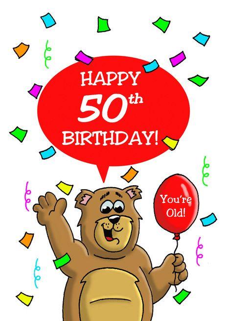 50th Birthday Card With A Cartoon Bear Balloon And Confetti Card Ad Sponsored Card Cartoon Old Birthday Cards 60th Birthday Cards 65th Birthday Cards