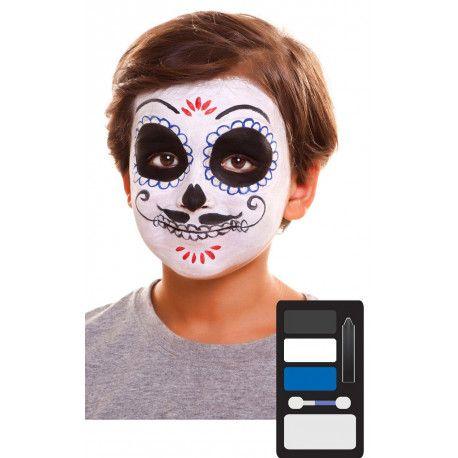 Kit De Maquillaje De Catrin Infantil Comprar Online Maquillaje De Catrin Facil Maquillaje Halloween Niños Calavera Catrines Y Catrinas