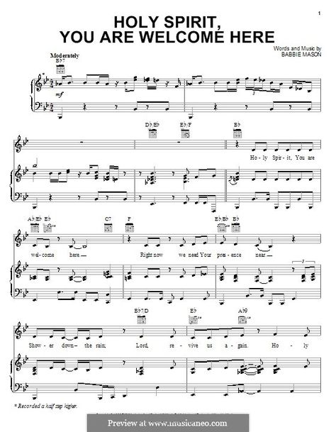 Holy Spirit You Are Welcome Here Music I Love Sheet Music