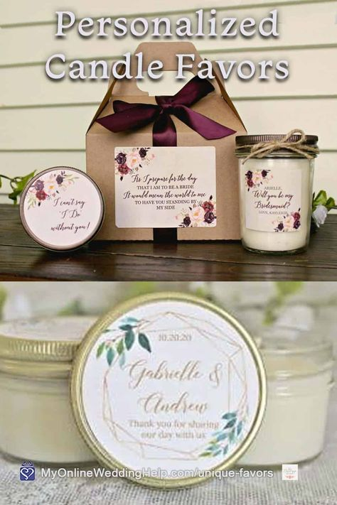 Candle favors for your wedding guests or bridesmaids are a unique, yet practical gift. Monika makes these as individual tins or a custom bridesmaids gift boxes. Look for more information and a buy link in the non-traditional wedding favors post on MyOnlineWeddingHelp.com #WeddingFavors #BridesmaidsGifts #CandleFavors #WeddingIdeas
