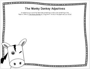 The Wonky Donkey Adjectives Writing Worksheet Free Writing