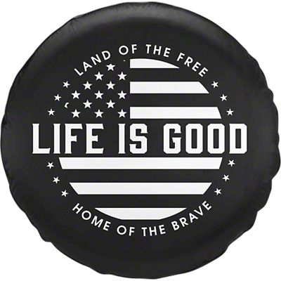 Life Is Good Jeep Wrangler Black White Flag Spare Tire Cover