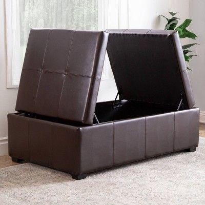 Fine Joshua Double Flip Storage Ottoman Abbyson Living Brown Creativecarmelina Interior Chair Design Creativecarmelinacom