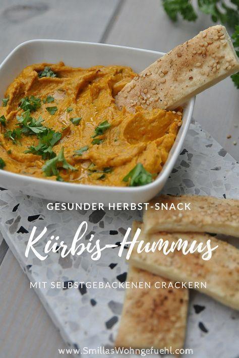 Vegan Herbst Rezepte | Lecker, gesund und schnell gemacht! Kürbis-Hummus mit selbst gebackenen Sesam-Crackern. Vegan
