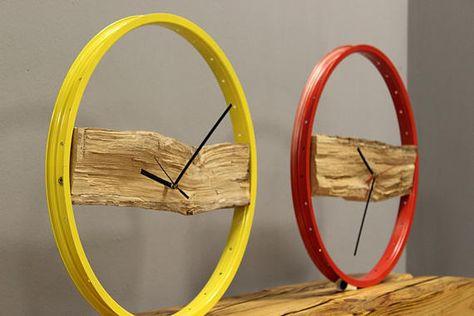 Clock WOOD yellow Bikes Bazaar