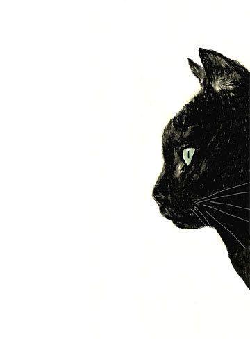 Art de chat  chat noir avec des moustaches par corelladesign