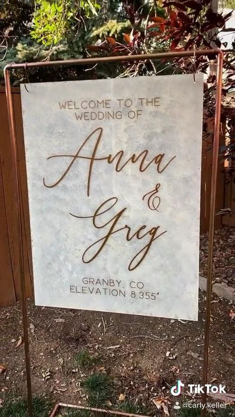 Painted Acrylic Sign & Copper Stand Set