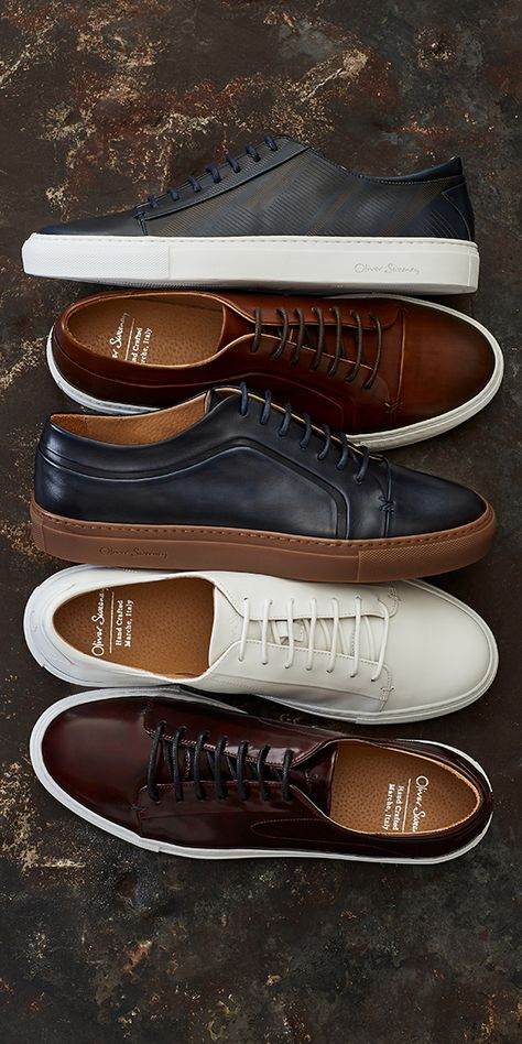 The luxury leather trainer has never looked more decadent Discover the collection at Oliver Sweeney Hand crafted in Italy is part of Dress shoes men - Sneakers Outfit Men, Sneakers Mode, Casual Sneakers, Leather Sneakers, Sneakers Fashion, Casual Shoes, Leather Trainers, Mens Casual Dress Outfits, Stylish Mens Outfits