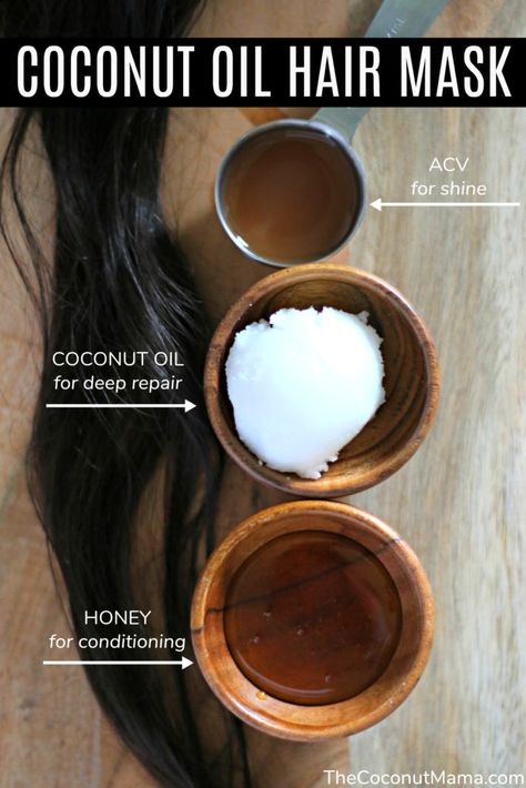 This coconut oil hair mask will repair your hair and leave it feeling smooth and shiny! You are in the right place about DIY Hair Care split ends Here we offer you the most beautiful pictures about th Hair Care Oil, Diy Hair Care, Oil For Hair Growth, Relaxed Hair, Coconut Beach, Coconut Milk, Natural Hair Care, Natural Hair Styles, Natural Hair Growth Tips