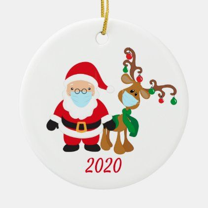 Christmas Face Mask Santa And Reindeer 2020 Ceramic Ornament Zazzle Com In 2020 Santa And Reindeer Personalized Christmas Ornaments Christmas Decorations Ornaments