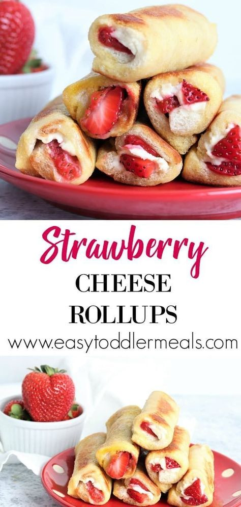 Strawberry Cheese Rollups That's breakfast sorted! Pair these delicious strawberry cheese rollups with an applesauce dip and let your kids go to town! They're easy finger food, quick to make and only include 4 ingredients – just perfect for the weekend Healthy Bedtime Snacks, Healthy Meal Prep, Healthy Snacks For Kids, Finger Foods For Kids, Snacks For Children, Healthy Breakfast For Toddlers, Healthy Cooking, Quick And Easy Snacks, Summer Kids Snacks
