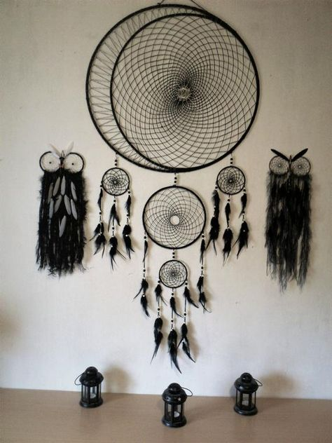 Huge black moon dream catcher with two black owls black yarn white yarn black beads black feathers It brings love, light and positive energy and allows only your good dreams to slip down the feathers to bless you while youre sleeping. The bad dreams will perish with the first light of dawn. It