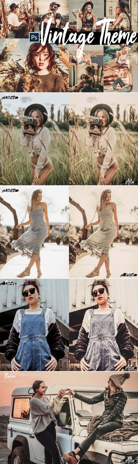 5 Vintage Actions, ACR and LUT presets INCLUDED: 5