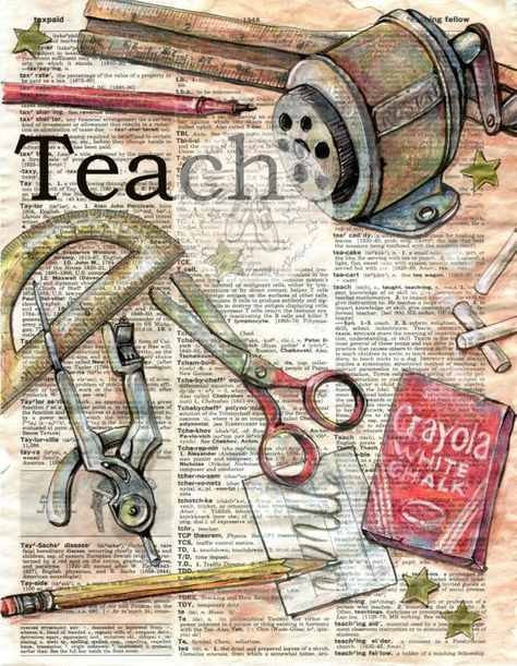 6 x 9 Print of Original, Mixed Media Drawing on Distressed, Dictionary Page This drawing of a vintage school supplies is drawn in sepia ink and created with pastel and colored pencils on a distressed page from a dictionary that includes the definition teach. Unlike similar prints available from
