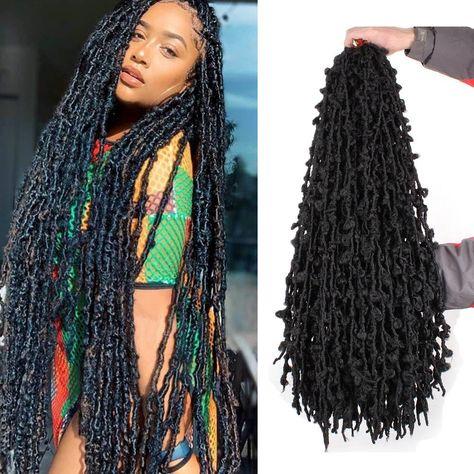 Xtrend 36inch Butterfly Locs Crochet Hair Pre Looped Crochet Braids Synthetic Natural Braid Hair - 1B# / 6PCS