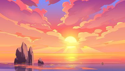 Sunset Or Sunrise In Ocean Nature Landscape Background Pink Clouds Flying In Sky To Shining Su In 2020 Ocean Illustration Landscape Background Landscape Illustration