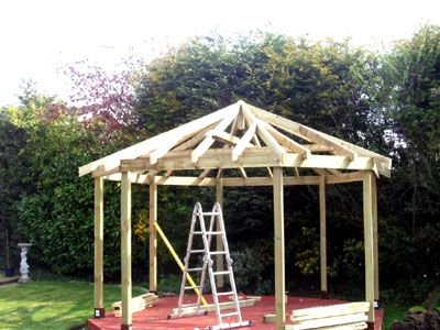 Gazebo Roofs | An 8 Sided Gazebo Over A Decking With The Roof Frame  Completed. | Gazebos | Pinterest | Gazebo Roof Garden Structures And Porch