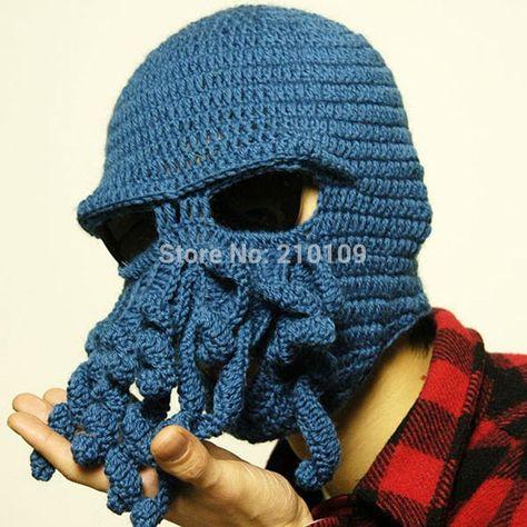 8f0414f5b5c19 LOCOMO Tentacle Octopus Cthulhu Knit Beanie Hat Cap Wind Ski Mask  FFH135DBLU