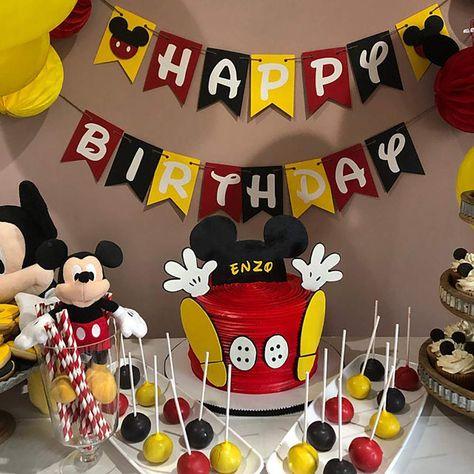 Mickey Mouse Birthday Decorations, Theme Mickey, Mickey Mouse Parties, Baby Mickey Mouse Costume, Mickey Mouse Treats, Mickey Mouse Party Favors, Mickey Mouse Balloons, Disney Parties, Mickey 1st Birthdays