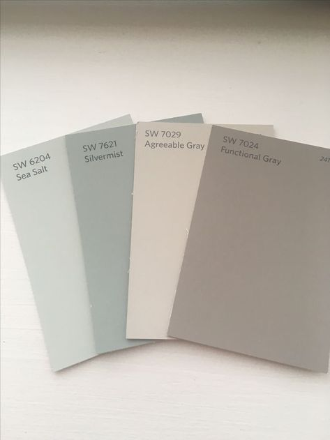 Whole house SW color palette. Agreeable gray (living room), functional gray (din… Whole house SW color palette. Coastal Living Rooms, Living Room Grey, Gray Dining Rooms, Interior Paint Colors, Paint Colors For Home, Paint Colours, Dining Room Paint Colors, Fixer Upper Paint Colors, House Color Schemes