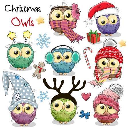Set Of Cute Cartoon Christmas Owls On A White Background Owls Drawing Owl Cartoon Christmas Owls
