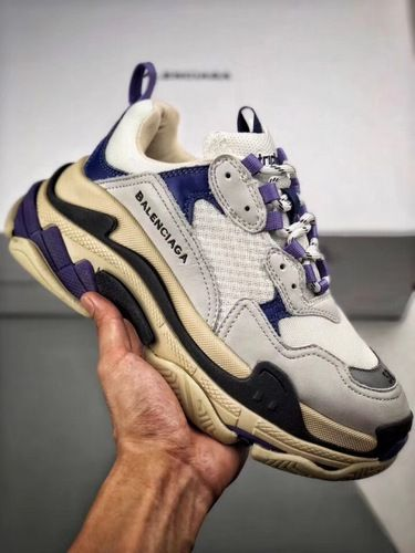 Balenciaga Mens Triple S Mesh Leather Sneakers Blue in