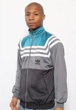 Vintage Adidas Big Logo Track Jacket Top Grey and Green