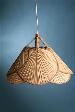 Pendant Light Shade Created From Palm Hand Fans Perfect For A