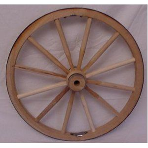 """Steam Bent Hickory Wood Western Wagon Wheel for Home and Garden Decor 30"""" X 1"""". Handcrafted By Old Order Amish Wheel Makers. These Country Collectible Wheels Can Be Used on Small Carts or Wagons with a Weight Bearing Capacity of 500 Lbs. They Are Perfect As Home and Garden Country Landscape Decor. Just the Right Size for Indoor or Outdoor Use. Authentic Wagon Wheel That Makes a Unique and Rustic Statement. Makes a Stunning Wagon Wheel Chandelier."""