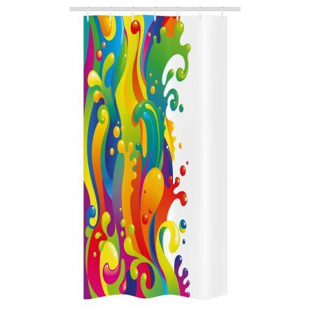 Psychedelic Stall Shower Curtain Digital Made Fluid Rainbow Color
